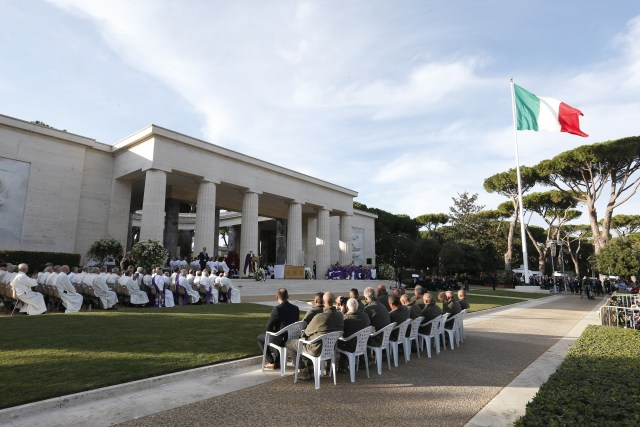 Pope Francis celebrates Mass at the Sicily-Rome American Cemetery and Memorial in Nettuno, Italy, Nov. 2. (CNS/Paul Haring)