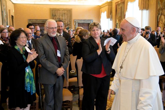 Pope Francis leads an audience with members of the International Federation of Catholic Universities at the Vatican Nov. 4. (CNS/L'Ossservatore Romano)