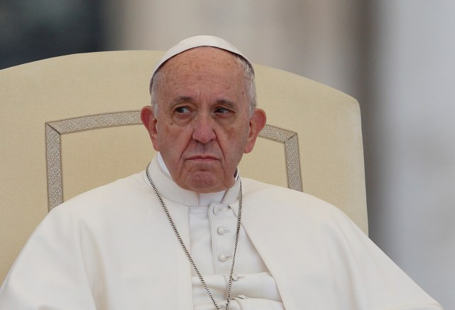 Pope Francis looks on during his general audience in St. Peter's Square at the Vatican Nov. 15. (CNS/Paul Haring)
