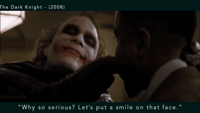 """The Dark Knight - (2008) """"Why so serious? Let's put a smile on that face.""""(Heath Ledger)"""