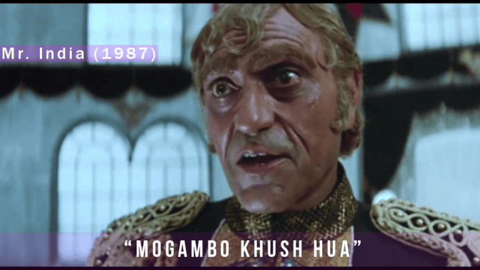 Scene of Amresh Puri saying the Famous dialogue from the movie Mr. India