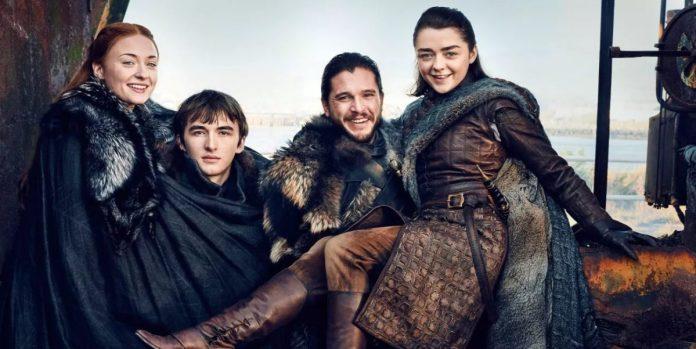 Sansa Bran Jon and Arya Stark