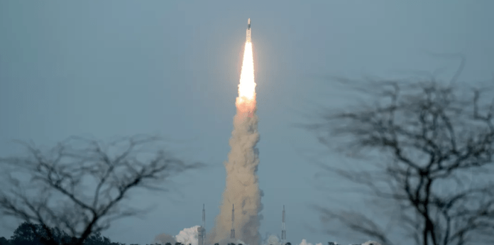 The GSLV Mk III in the sky with the Chandrayaan 2 module onboard