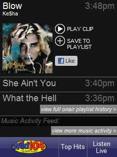 This screenshot from wild104fm.com, taken 9:50pm Thursday, shows the Binghamton station stopped playing music at 3:48pm.