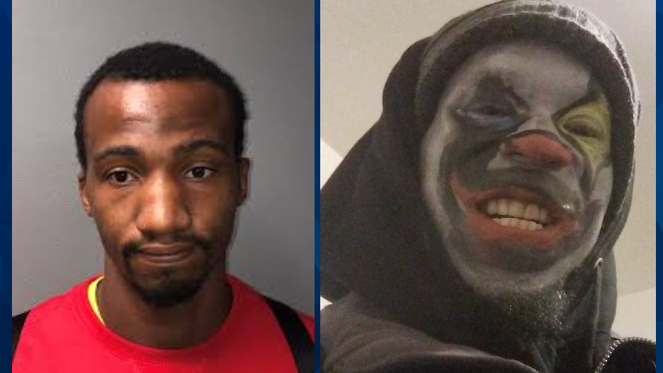 Days after allegedly raping woman in her home, sex offender shows up on her surveillance camera wearing clown makeup