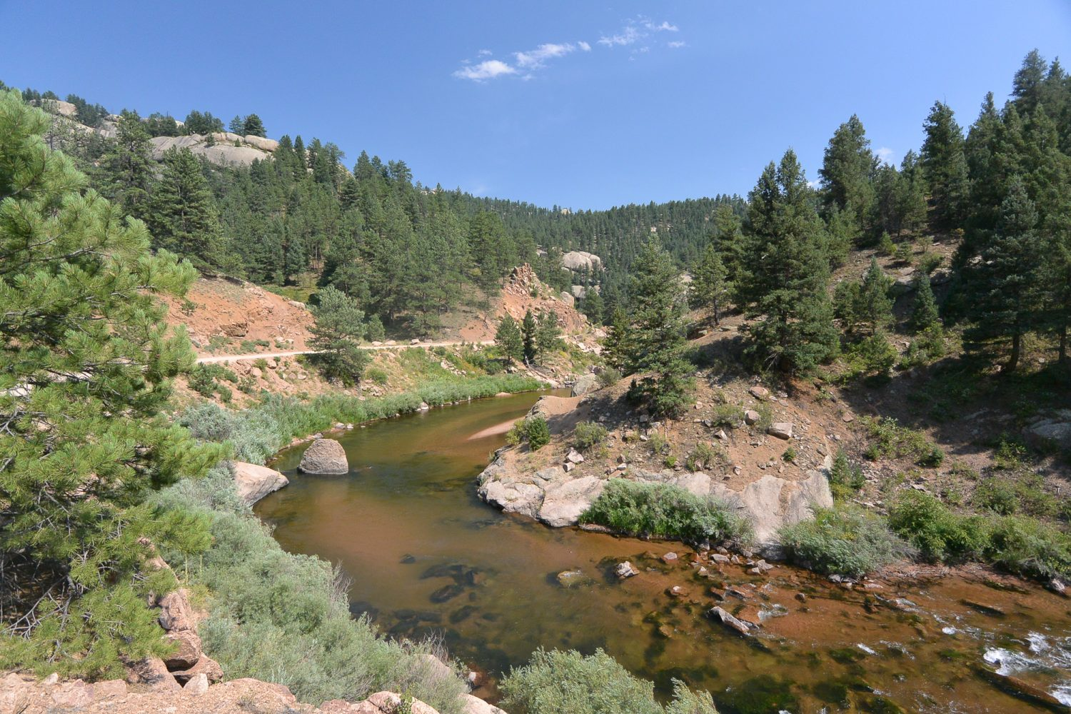 Upper South Platte River with a road