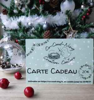 Carte cadeau de la boutique co-coud-ning sous le sapin