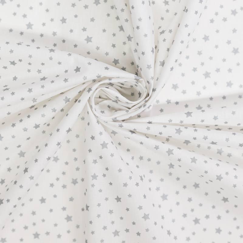 Tissu coton blanc à motifs étoiles grises argent