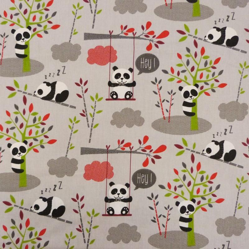 Tissu coton de couleur gris à motifs pandas