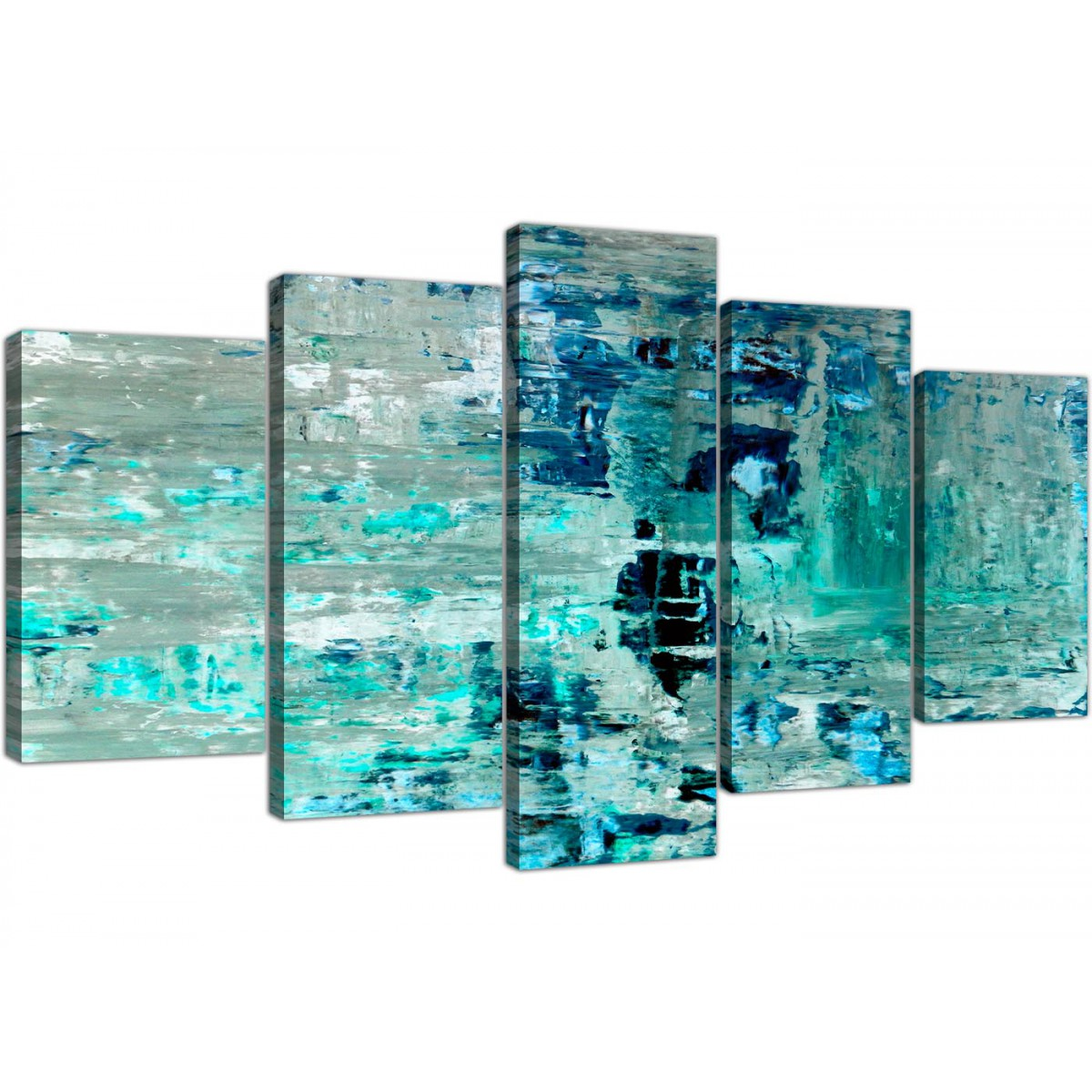 Extra Large Turquoise Teal Abstract Painting Wall Art Print Canvas Multi 5 Set 5333