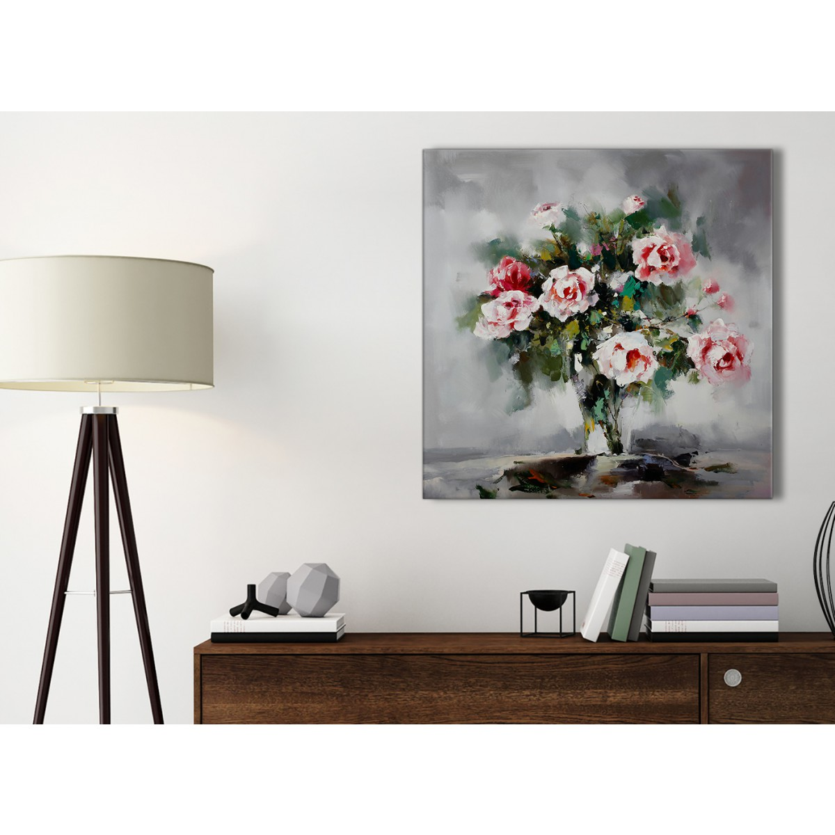 Pink Grey Flowers Painting Kitchen Canvas Wall Art Accessories Abstract 1s442s 49cm Square Print