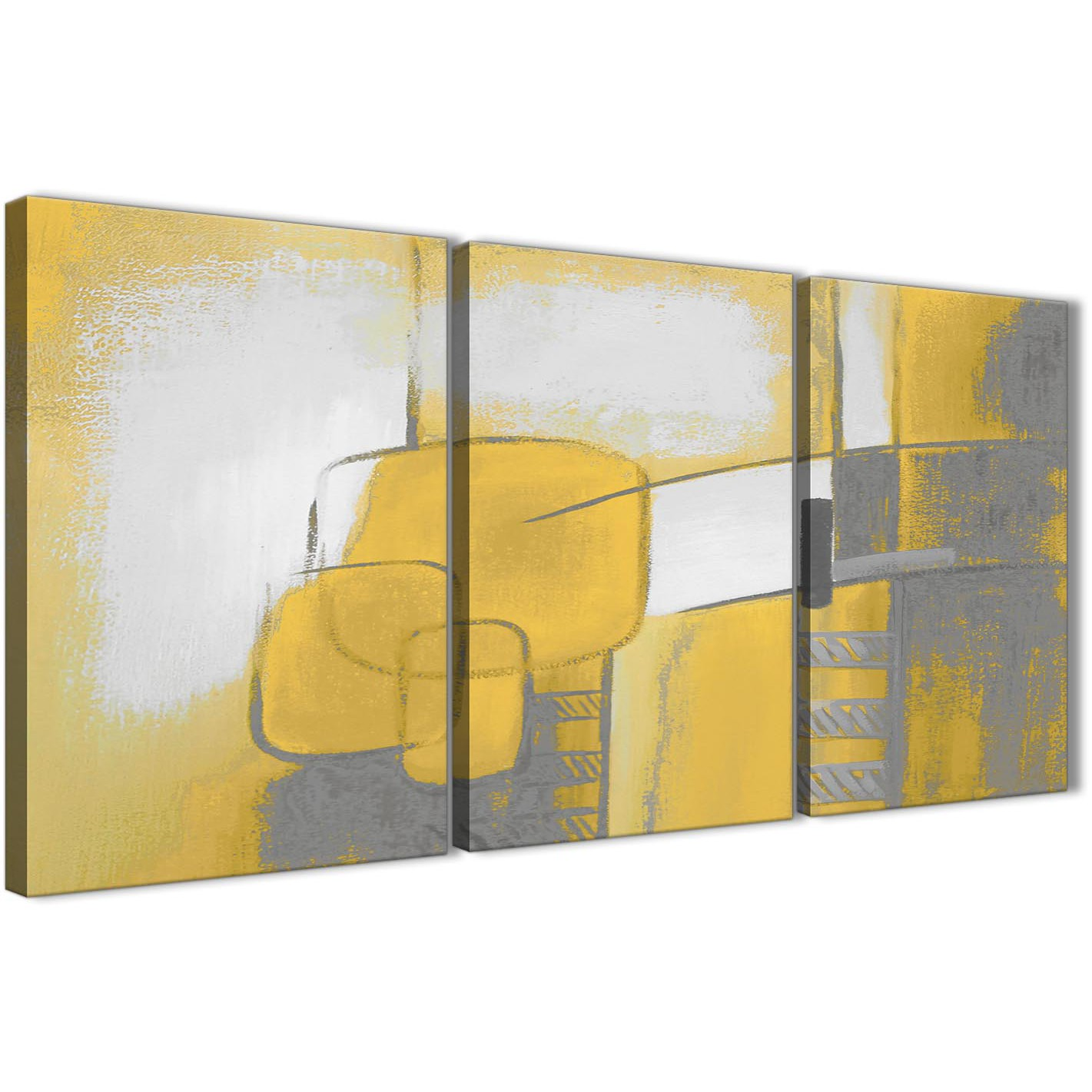 Yellow Gray 3 Piece Canvas Art