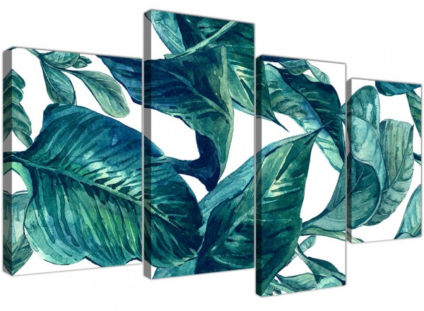 Large Teal Blue Green Tropical Exotic Leaves Canvas Wall Art Print Multi 4 Piece 4325