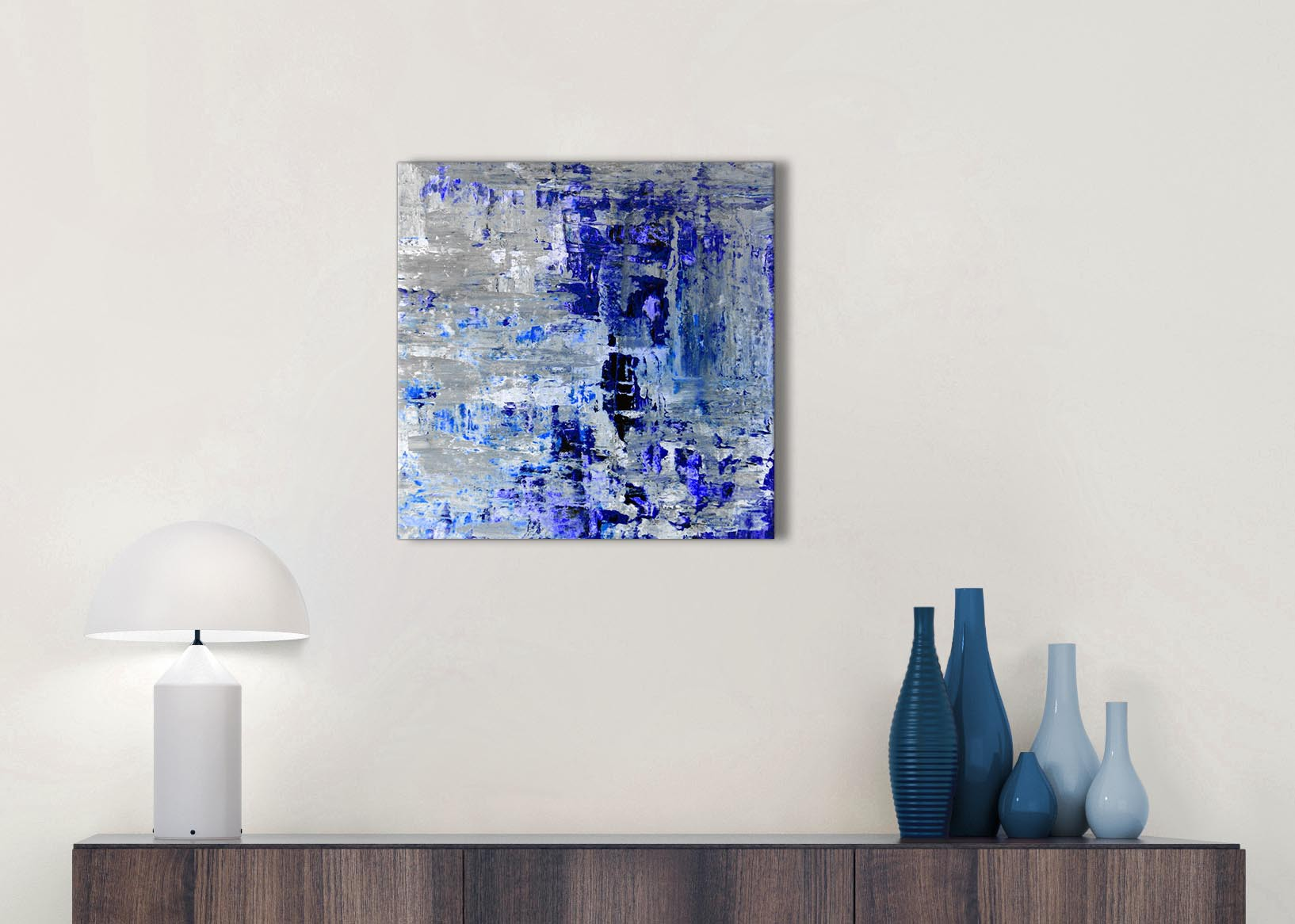 Indigo Blue Grey Abstract Painting Wall Art Print Canvas Modern 49cm Square 1s358s