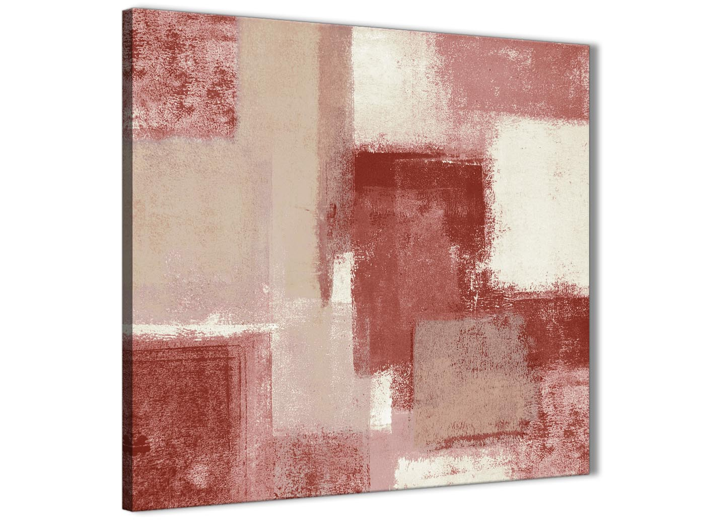 Red And Cream Bathroom Canvas Wall Art Accessories Abstract 1s370s 49cm Square Print