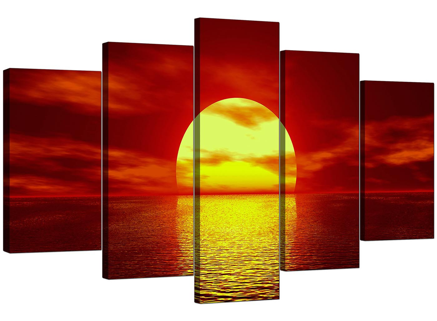 Extra Large Sunset Canvas Prints UK Set Of 5 In Red