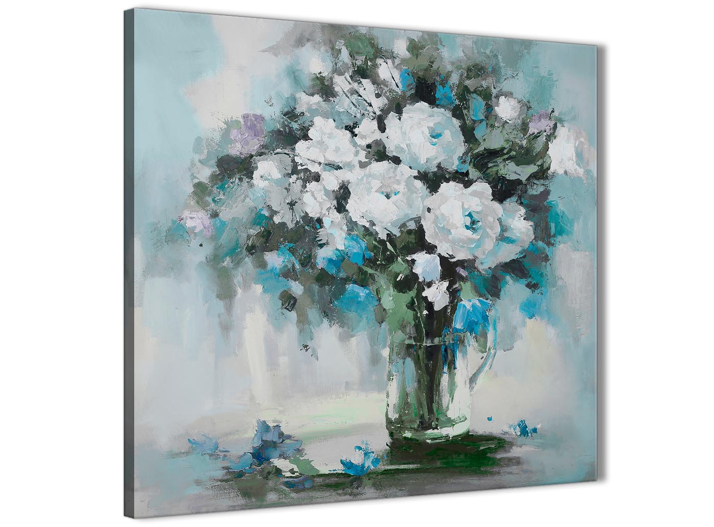 Teal White Flowers Painting Bathroom Canvas Wall Art Accessories Abstract 1s440s 49cm Square