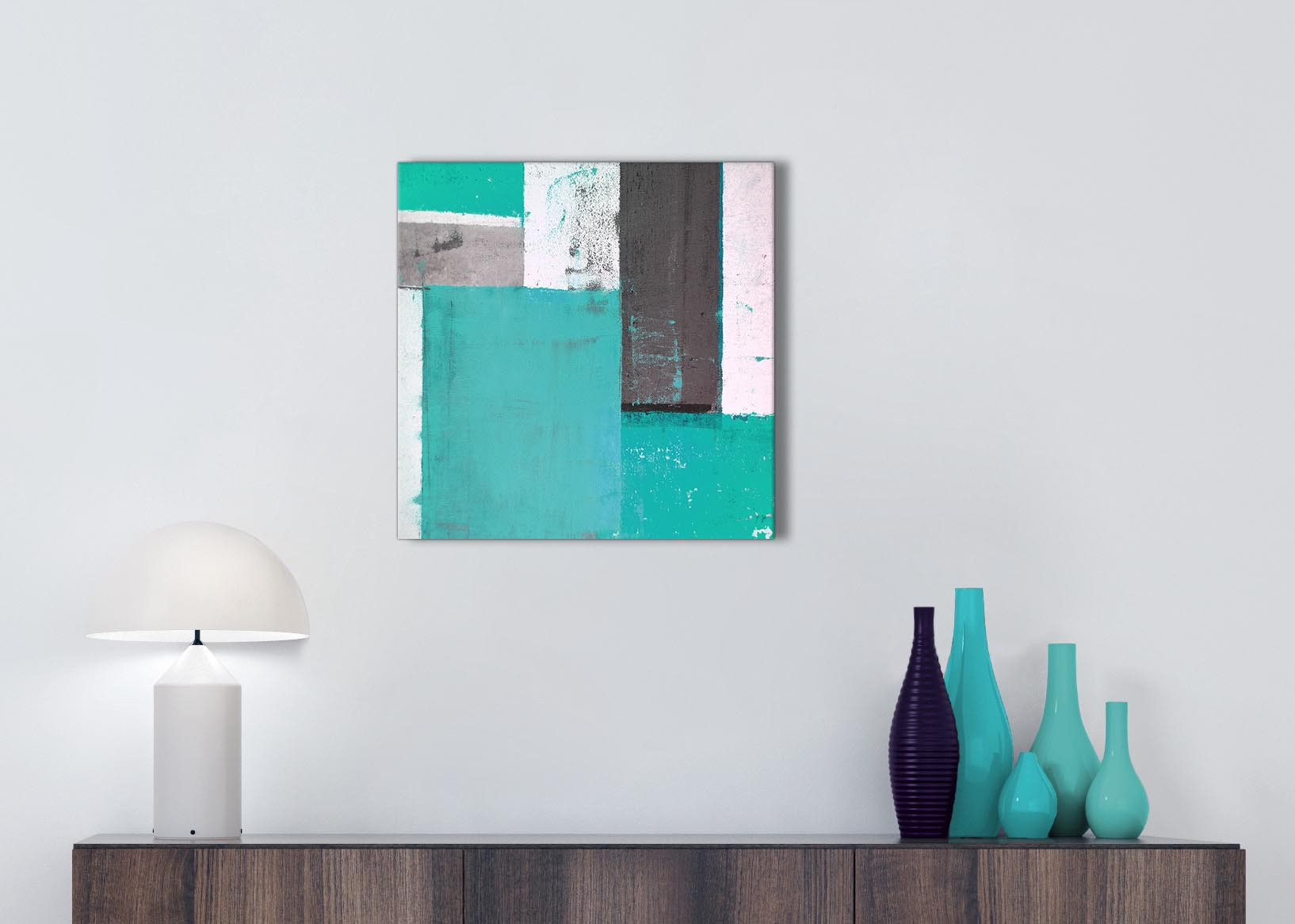 Turquoise Grey Abstract Painting Canvas Wall Art Modern