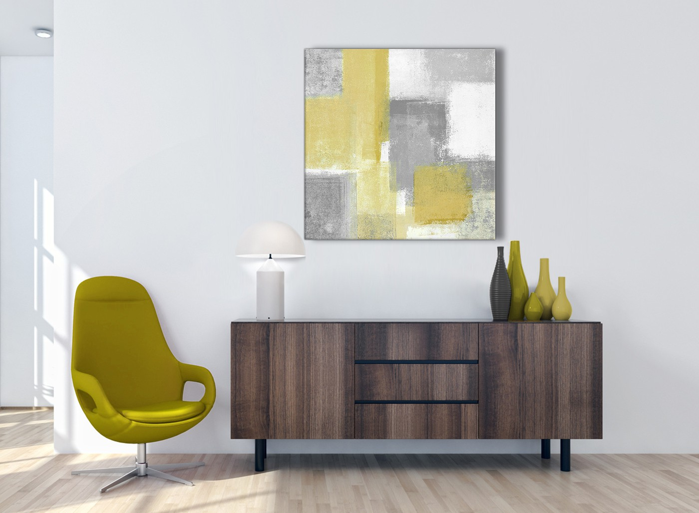 Mustard Yellow Grey Abstract Living Room Canvas Pictures Accessories 1s367l 79cm Square Print