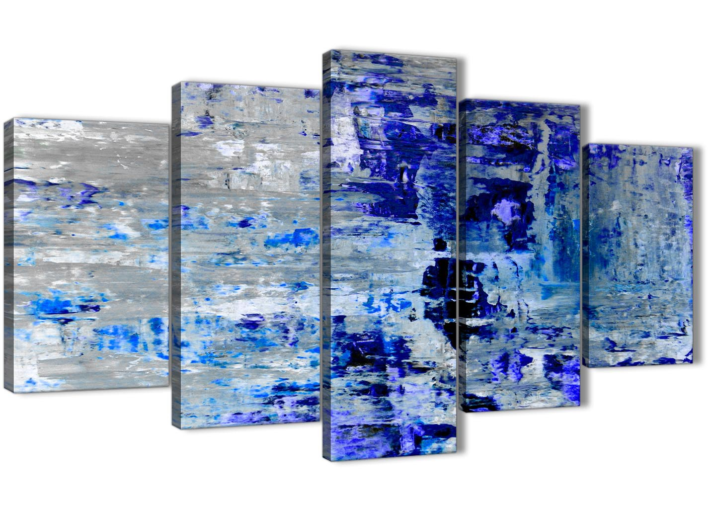 Extra Large Indigo Blue Grey Abstract Painting Wall Art Print Canvas Multi Set Of 5 160cm