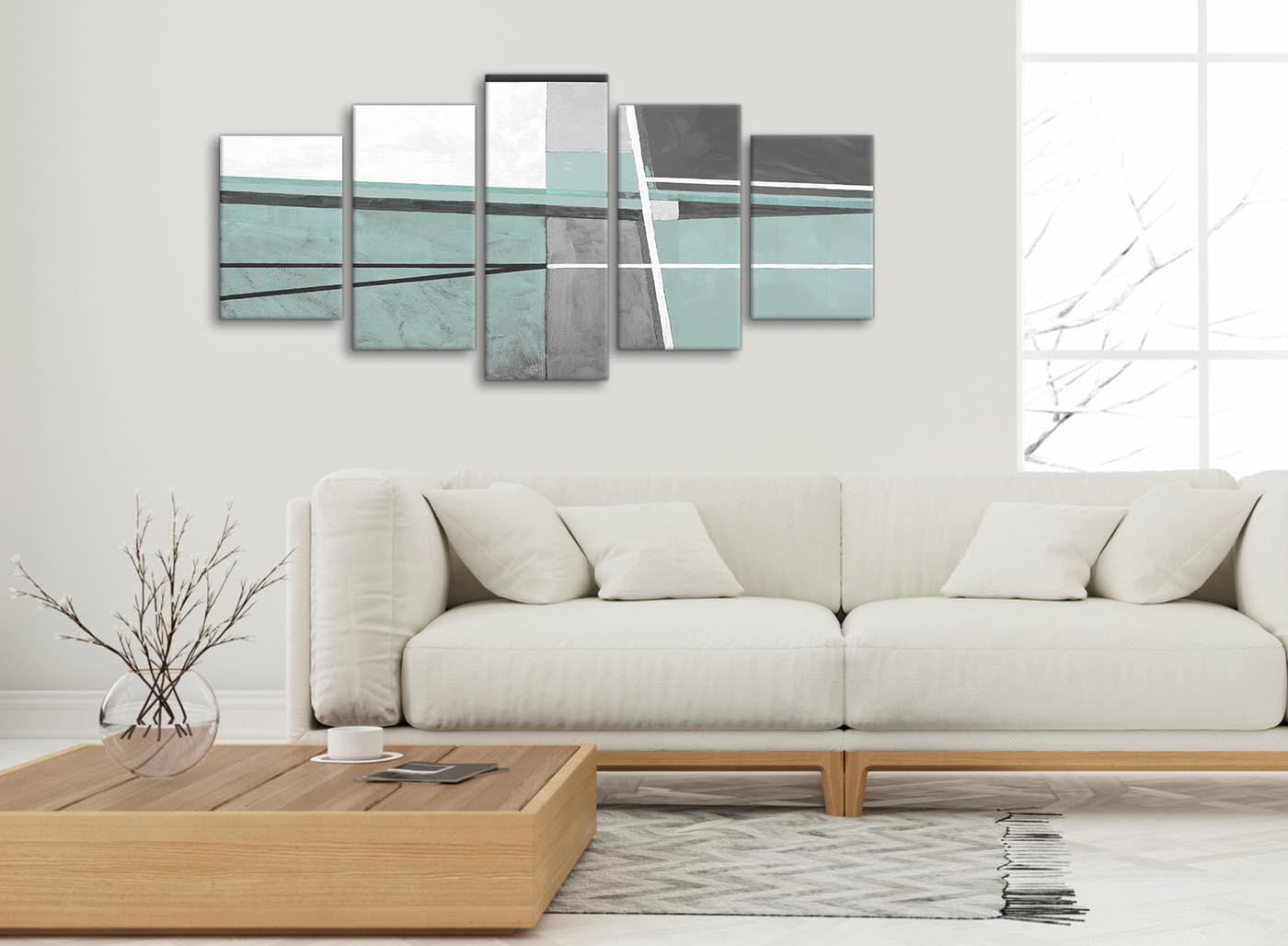 5 Piece Duck Egg Blue Grey Painting Abstract Dining Room