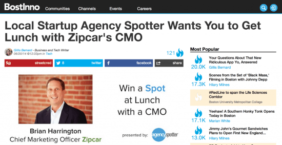 BostInno Coverage of Agency Spotter's Boston Launch