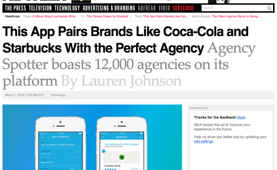 Agency Spotter iPhone App Featured on AdWeek