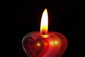 Bougie coeur espoir d'amour