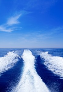 11201828 - boat wake prop wash on blue ocean sea in sunny day