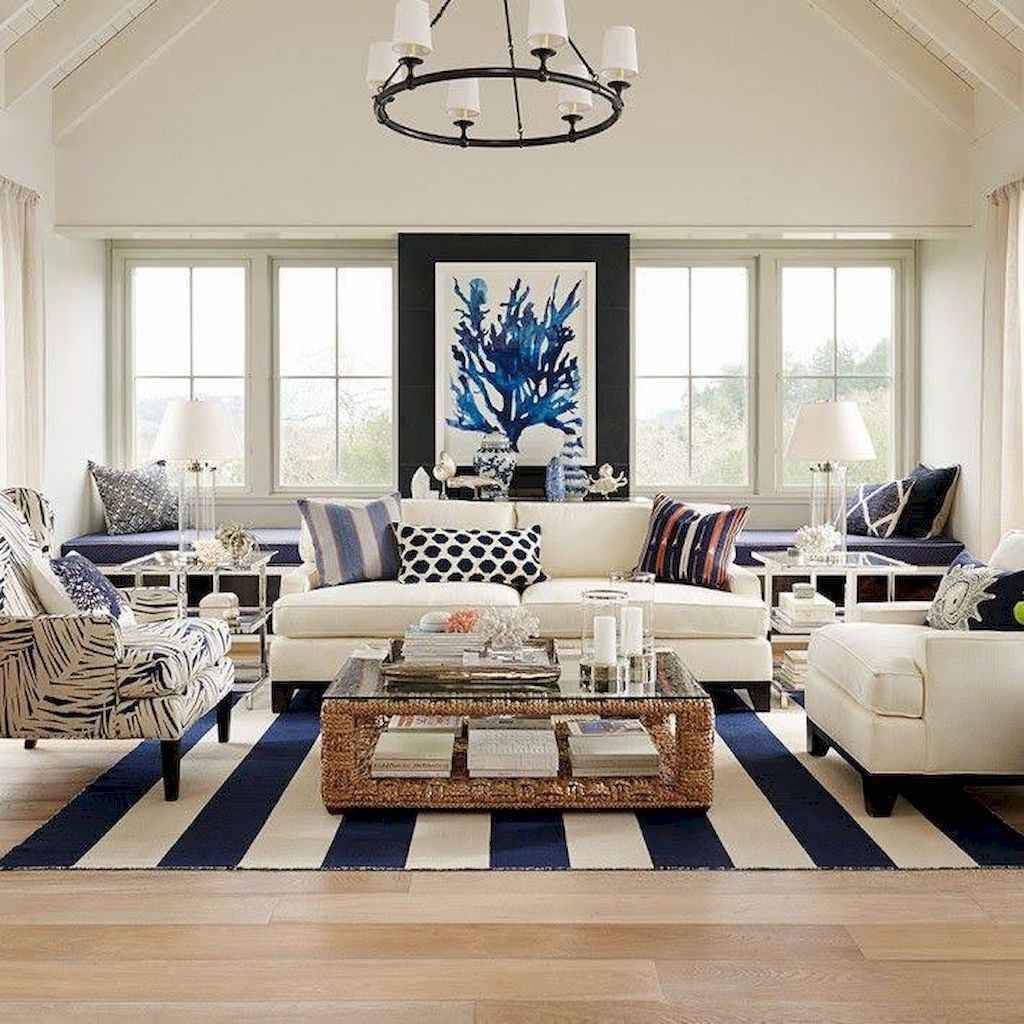 70 Cool and Clean Coastal Living Room Decorating Ideas (6)