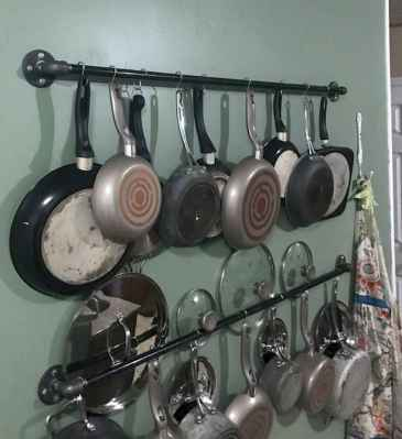 80 Incredible Hanging Rack Kitchen Decor Ideas (70)