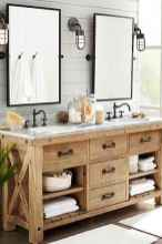 50 Stunning Farmhouse Bathroom Vanity Decor Ideas (22)
