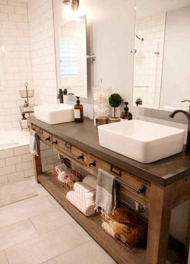 50 Amazing Farmhouse Bathroom Vanity Decor Ideas (125)