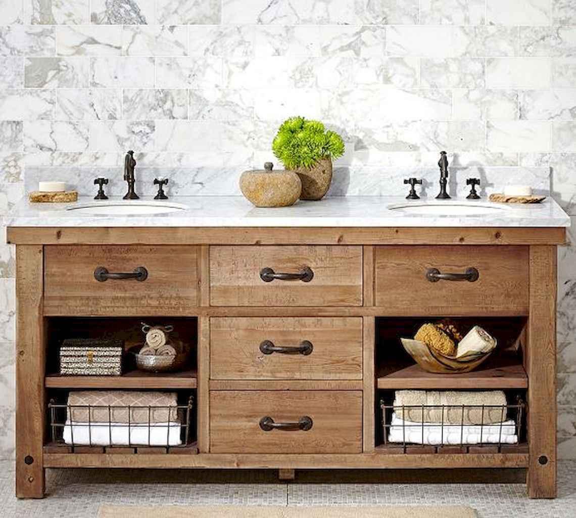 50 Amazing Farmhouse Bathroom Vanity Decor Ideas (64)