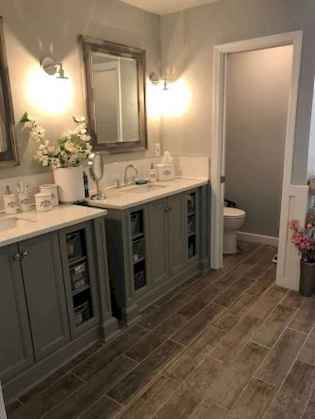 150 Awesome Farmhouse Bathroom Tile Floor Decor Ideas And Remodel To Inspire Your Bathroom (60)