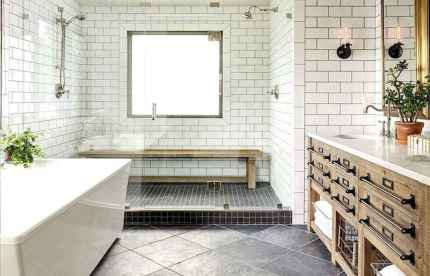 150 Awesome Farmhouse Bathroom Tile Floor Decor Ideas And Remodel To Inspire Your Bathroom (83)