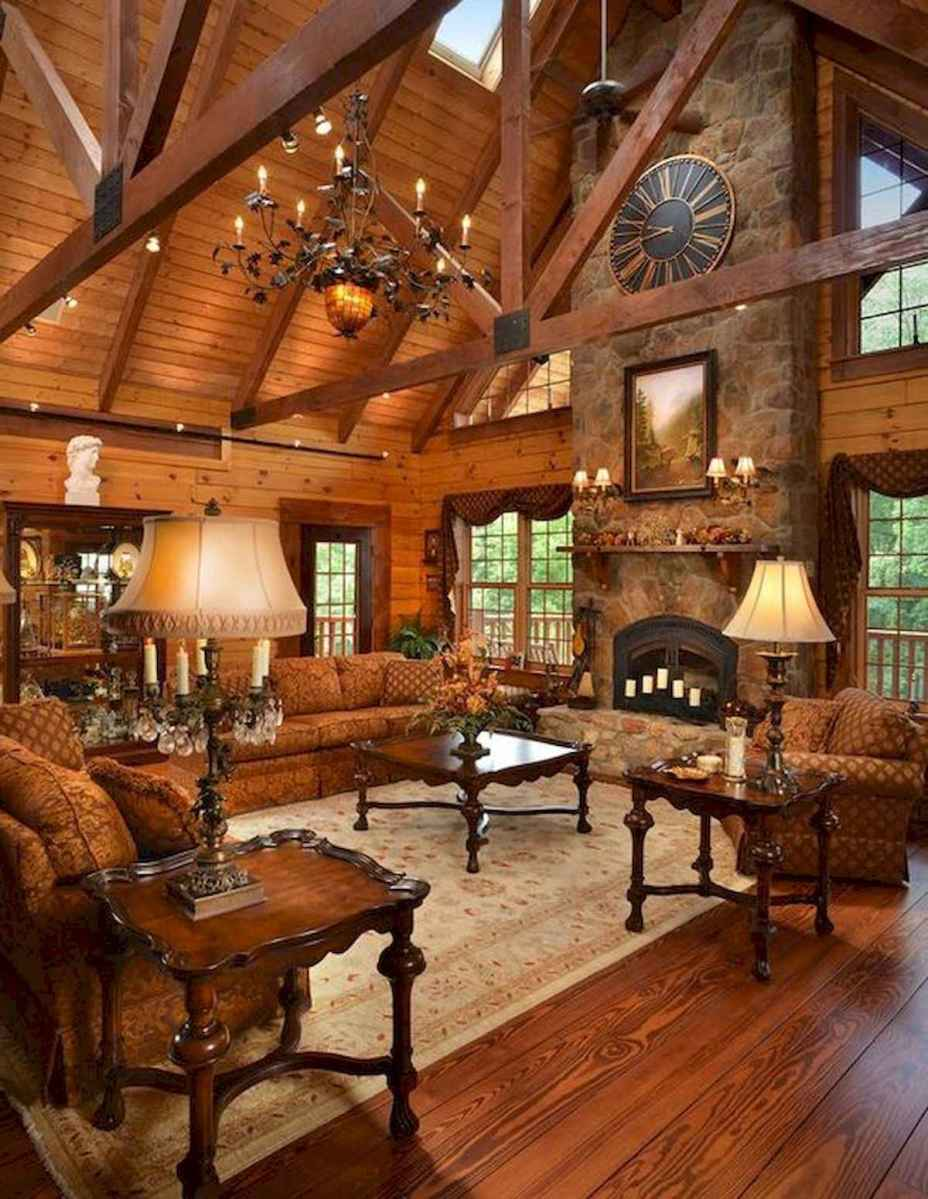 60 Stunning Log Cabin Homes Fireplace Design Ideas (15)