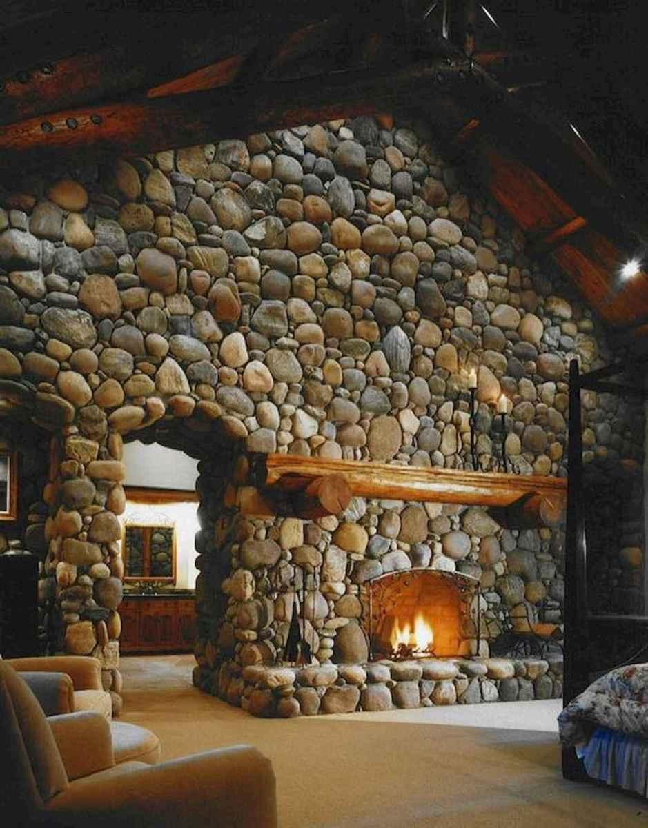 60 Stunning Log Cabin Homes Fireplace Design Ideas (34)