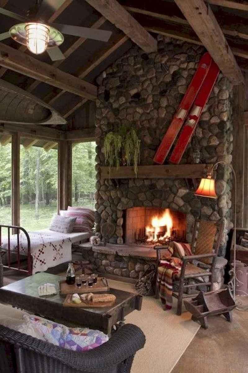 60 Stunning Log Cabin Homes Fireplace Design Ideas (37)