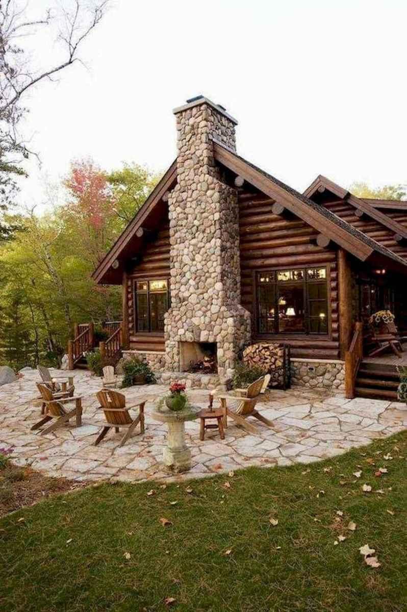 60 Stunning Log Cabin Homes Fireplace Design Ideas (47)