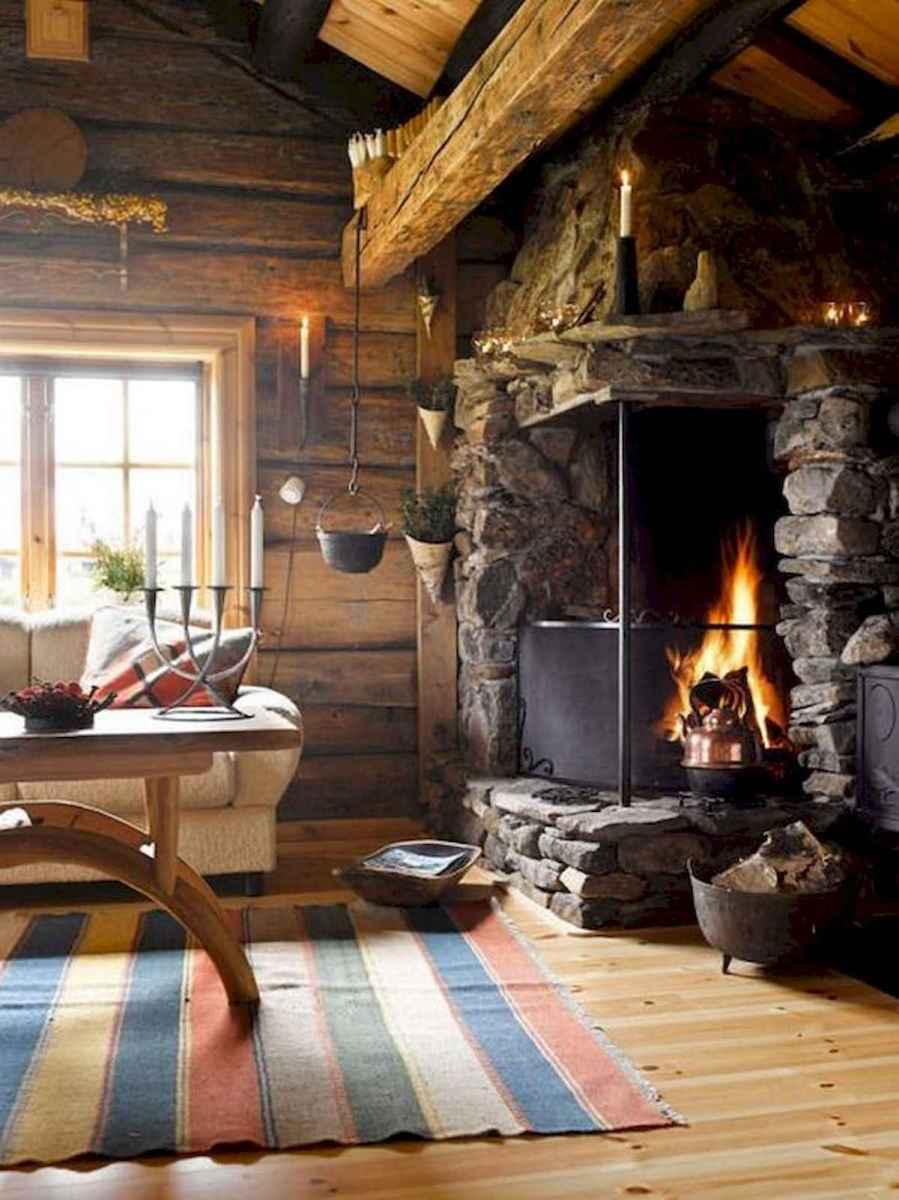 60 Stunning Log Cabin Homes Fireplace Design Ideas (51)