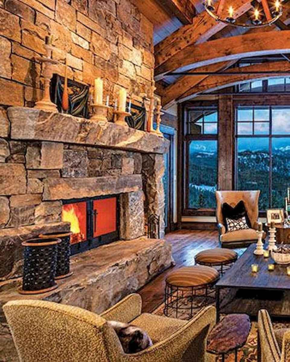 60 Stunning Log Cabin Homes Fireplace Design Ideas (52)