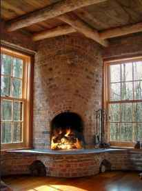 60 Stunning Log Cabin Homes Fireplace Design Ideas (6)