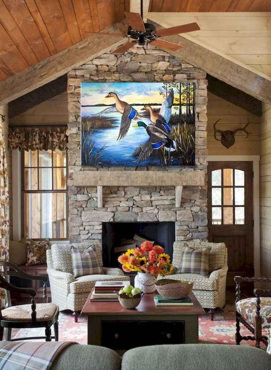 60 Stunning Log Cabin Homes Fireplace Design Ideas (60)