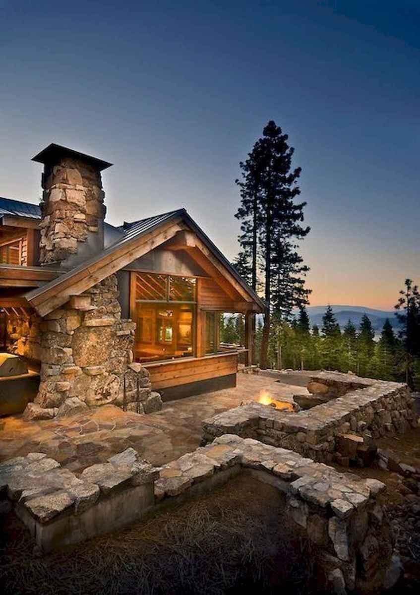60 Stunning Log Cabin Homes Fireplace Design Ideas (63)