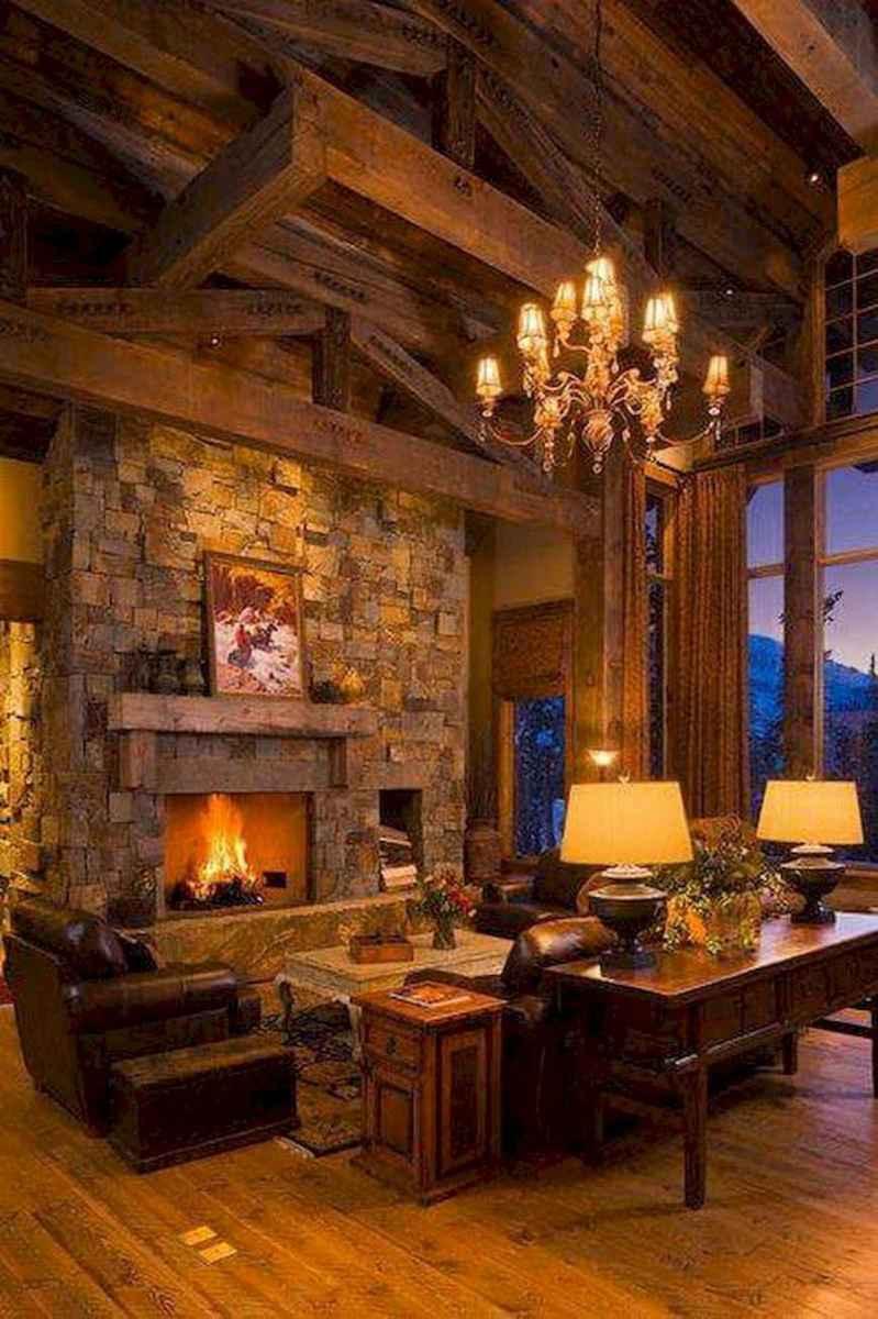60 Stunning Log Cabin Homes Fireplace Design Ideas (9)
