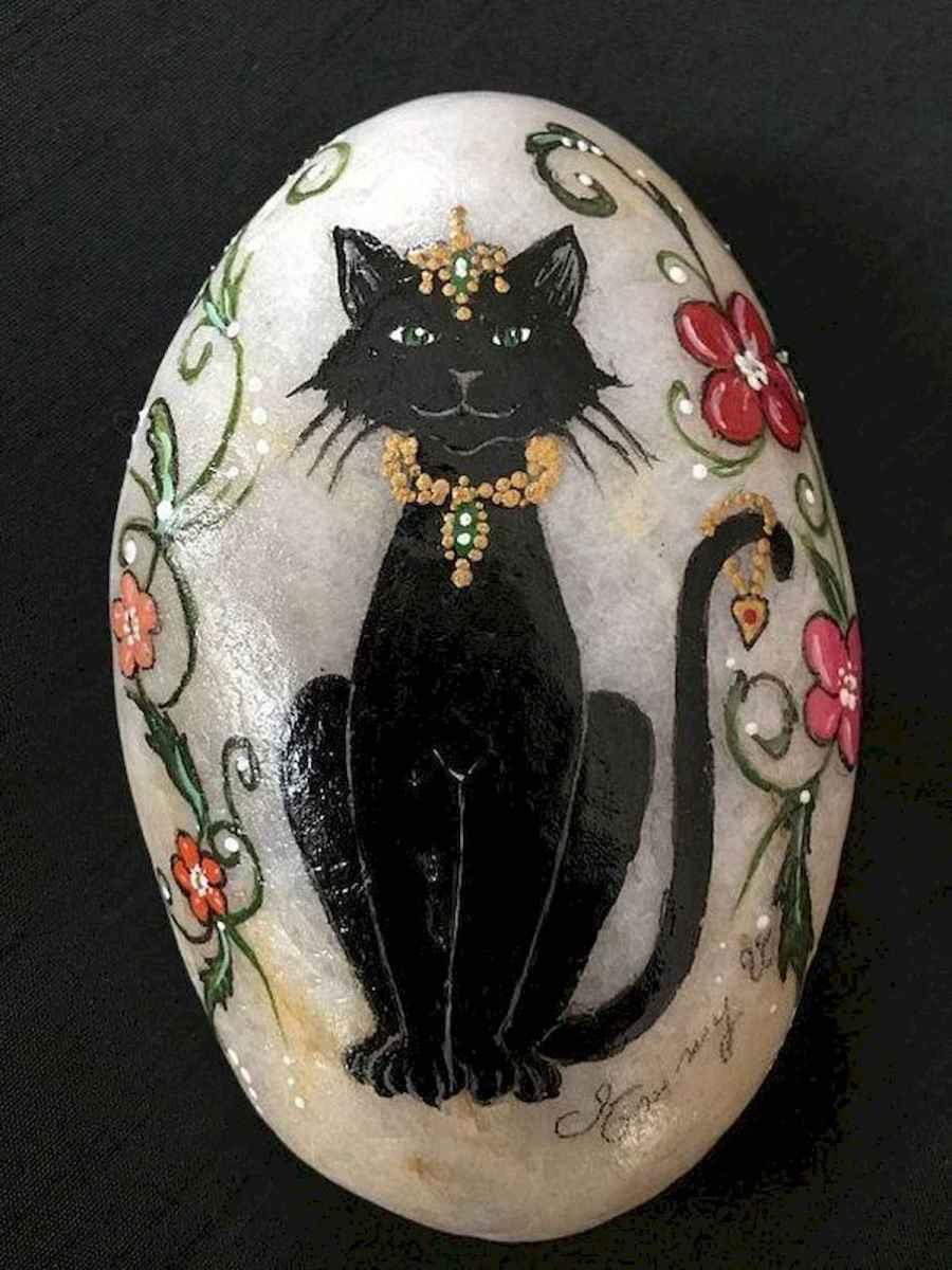 50 Inspiring DIY Painted Rocks Animals Cats for Summer Ideas (11)