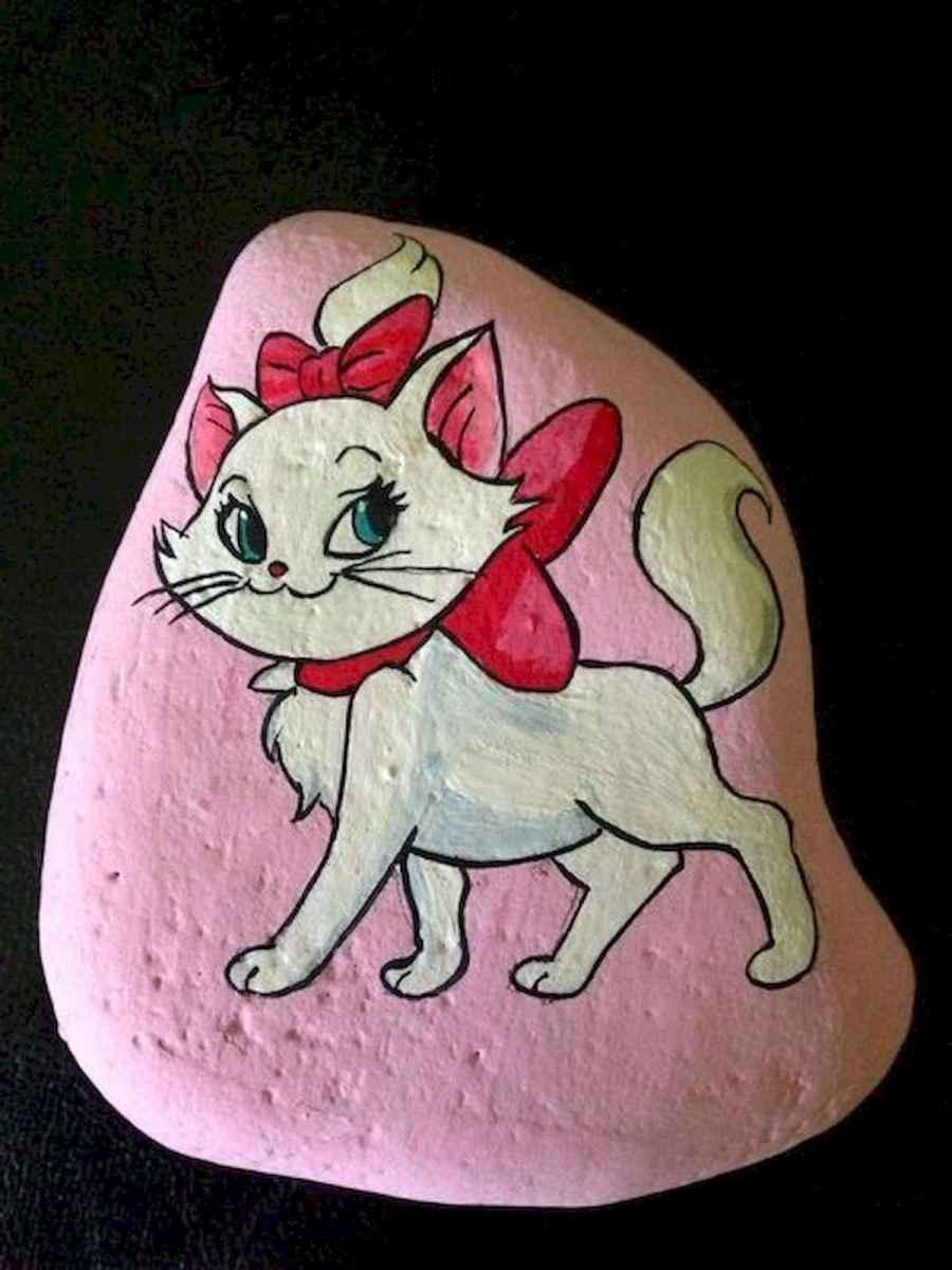 50 Inspiring DIY Painted Rocks Animals Cats for Summer Ideas (24)