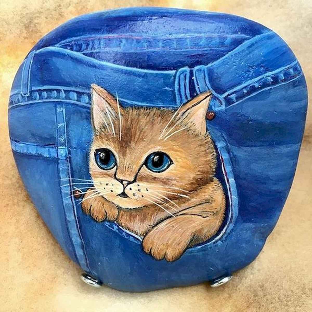 50 Inspiring DIY Painted Rocks Animals Cats for Summer Ideas (3)