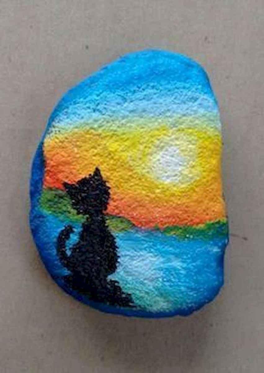 50 Inspiring DIY Painted Rocks Animals Cats for Summer Ideas (30)